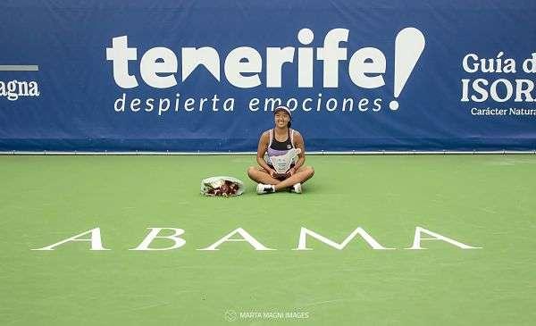 Ann Li en las pistas de Abama Tennis Academy.